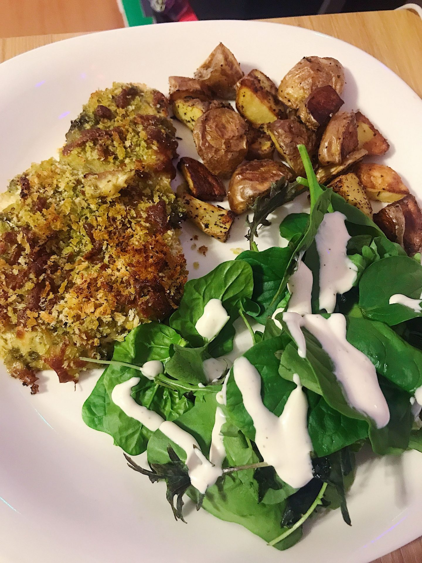 Pesto panko chicken and potatoes