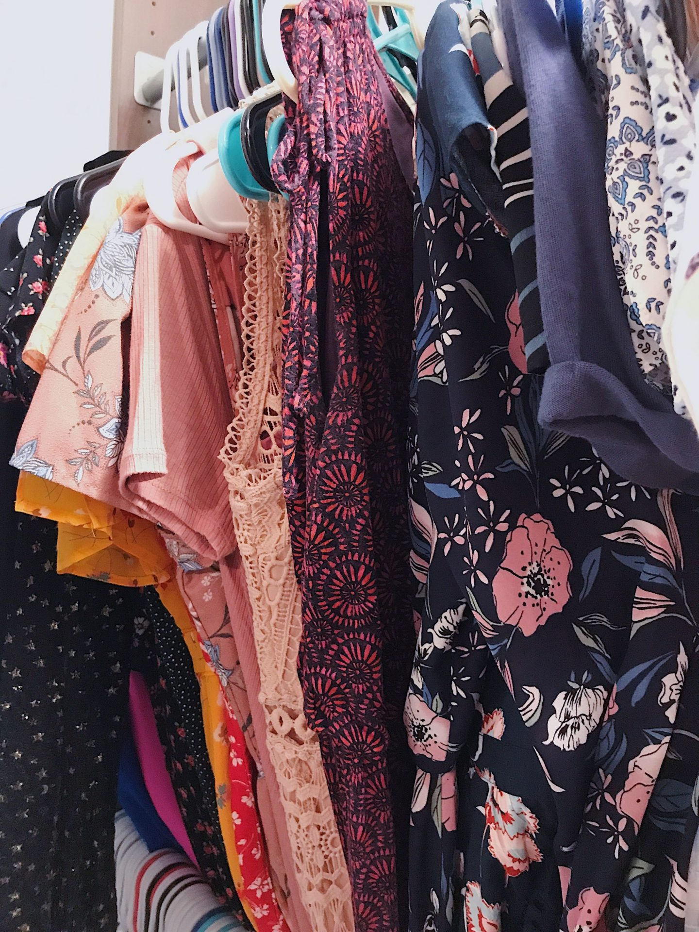 Dresses in reorganized closet