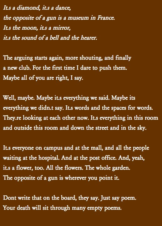 The best poem about gun violence