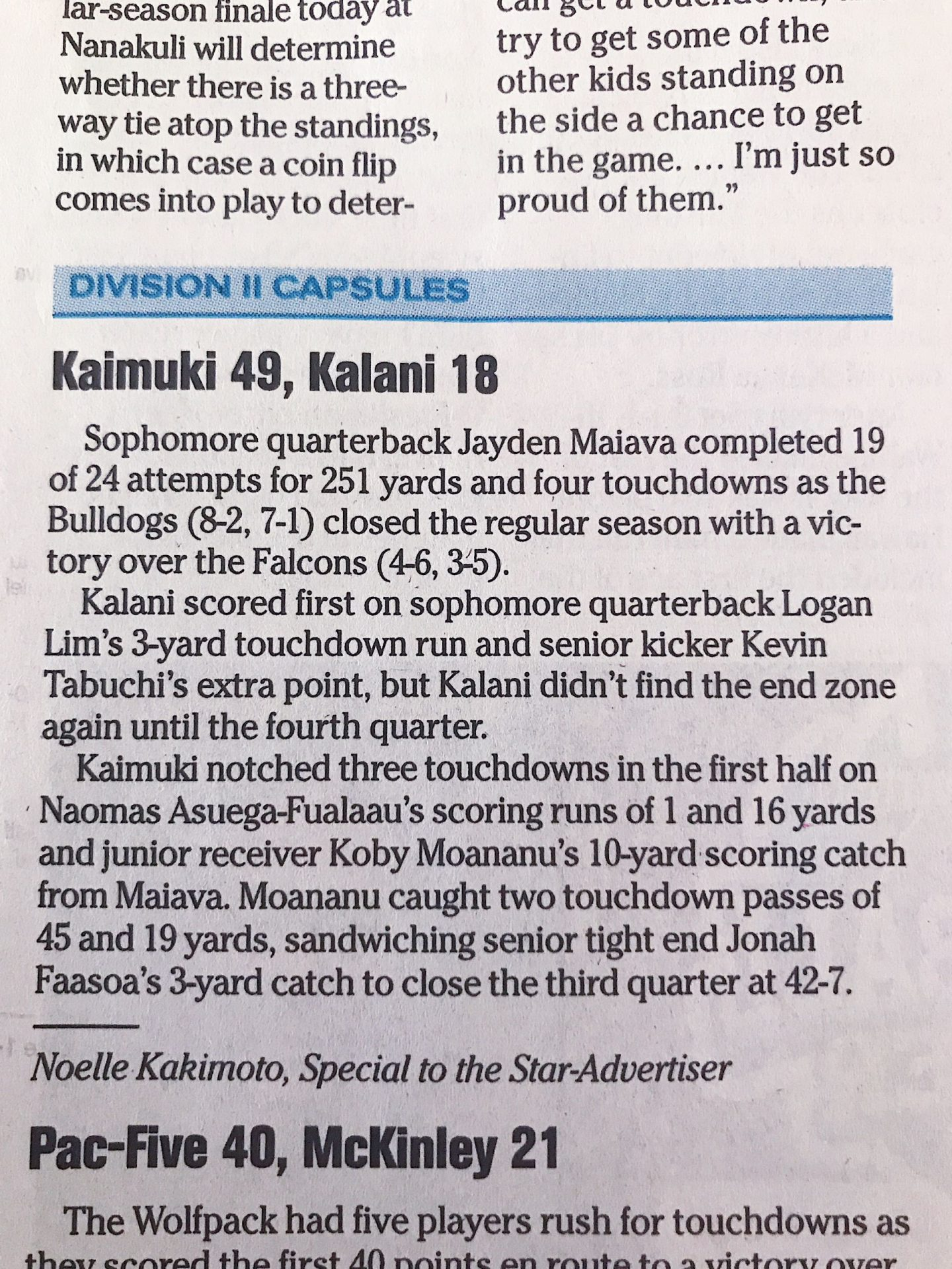 Kaimuki vs Kalani capsule