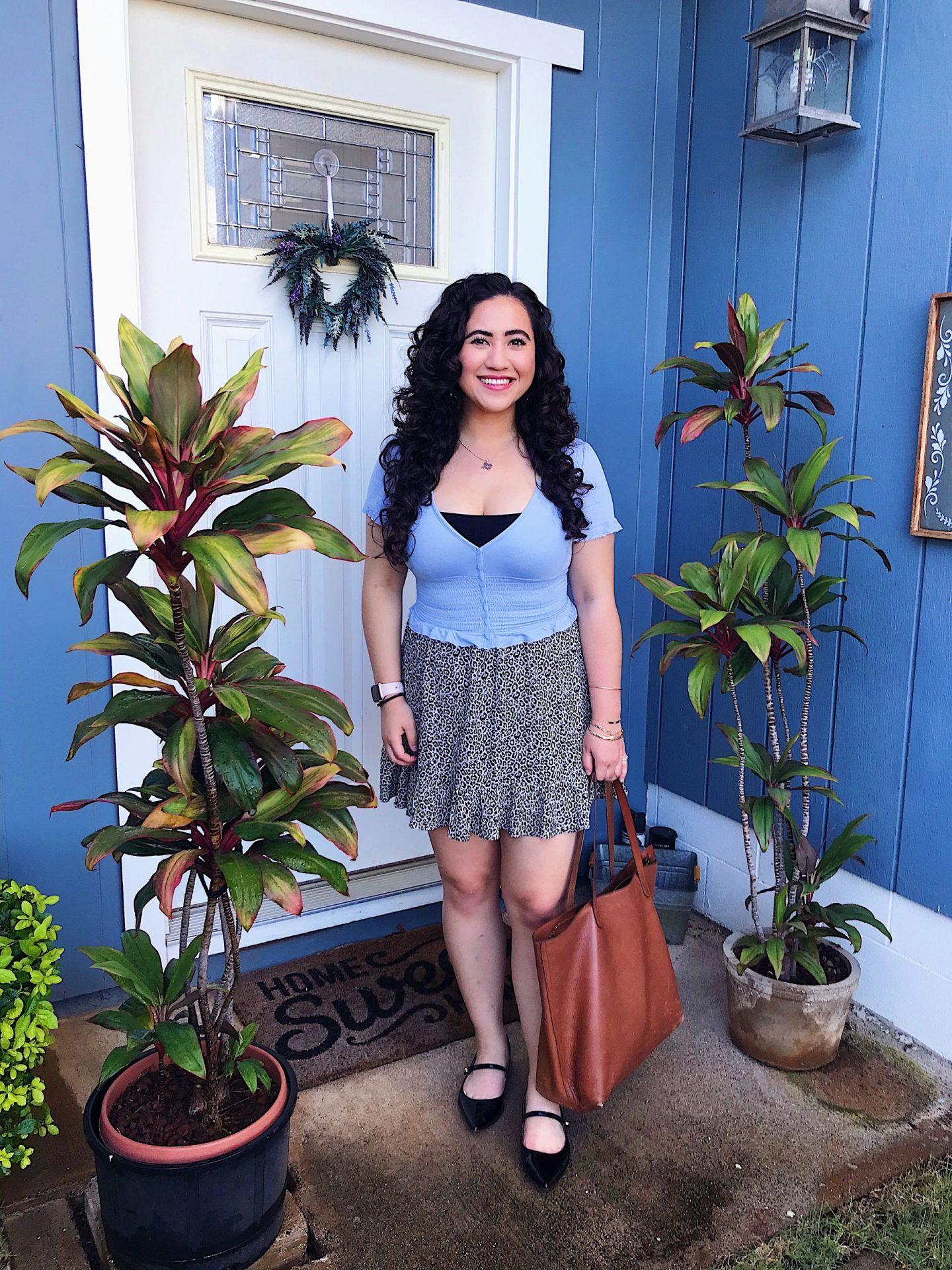 Blue crop top and leopard miniskirt