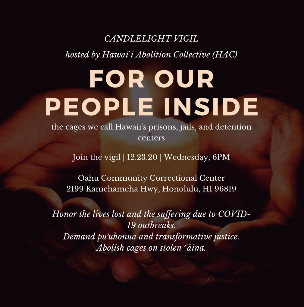 The Hawaiʻi Abolition Collective candlelight vigil