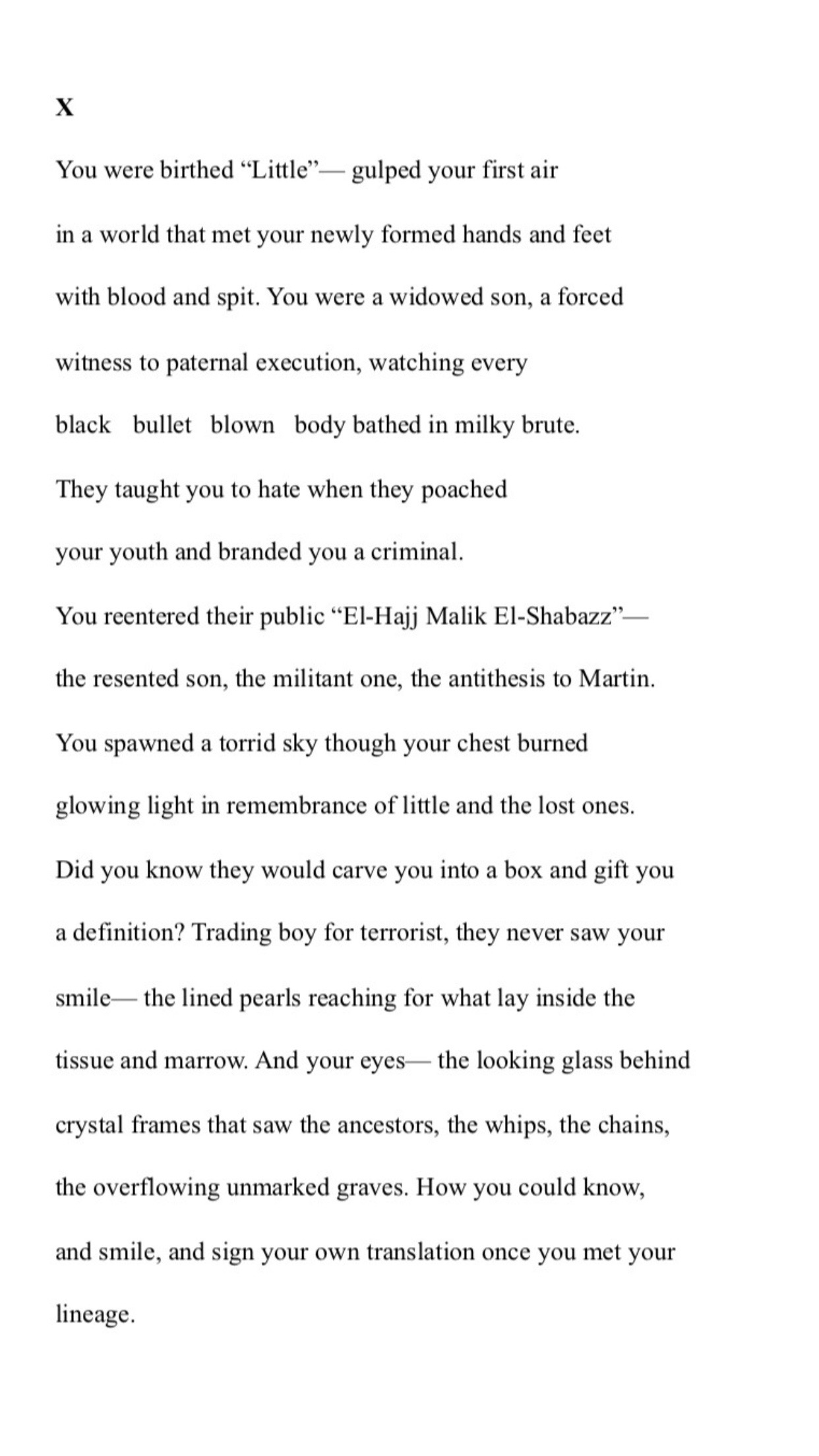 My poem about Malcolm X