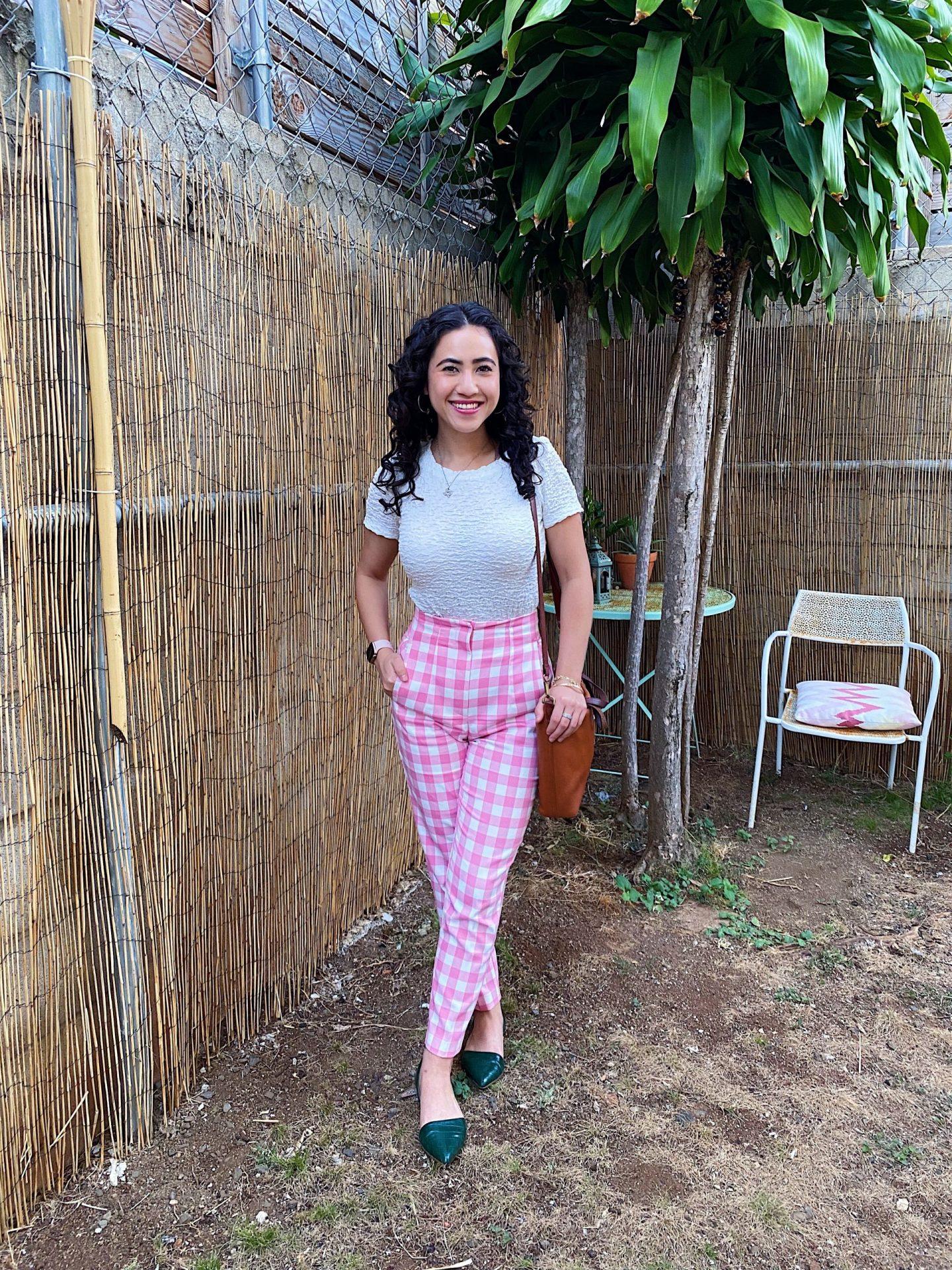 Pink checkered pants
