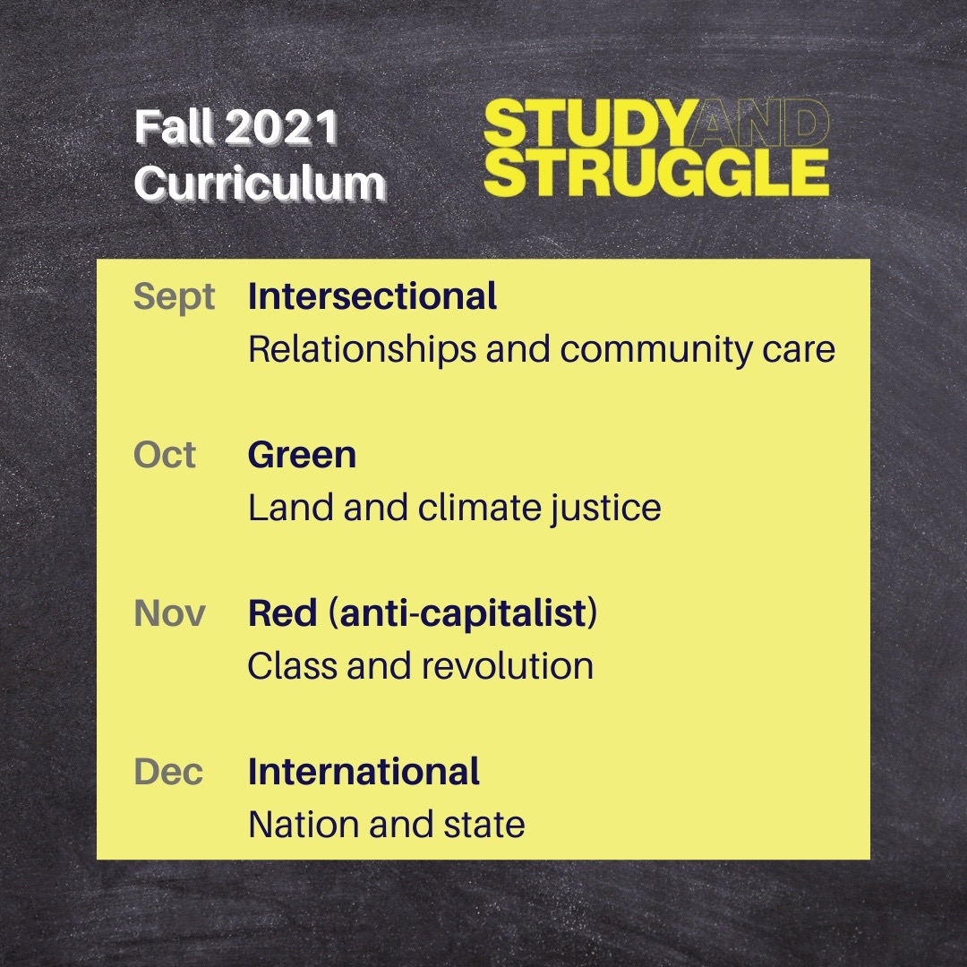 Schedule for year two of Study and Struggle