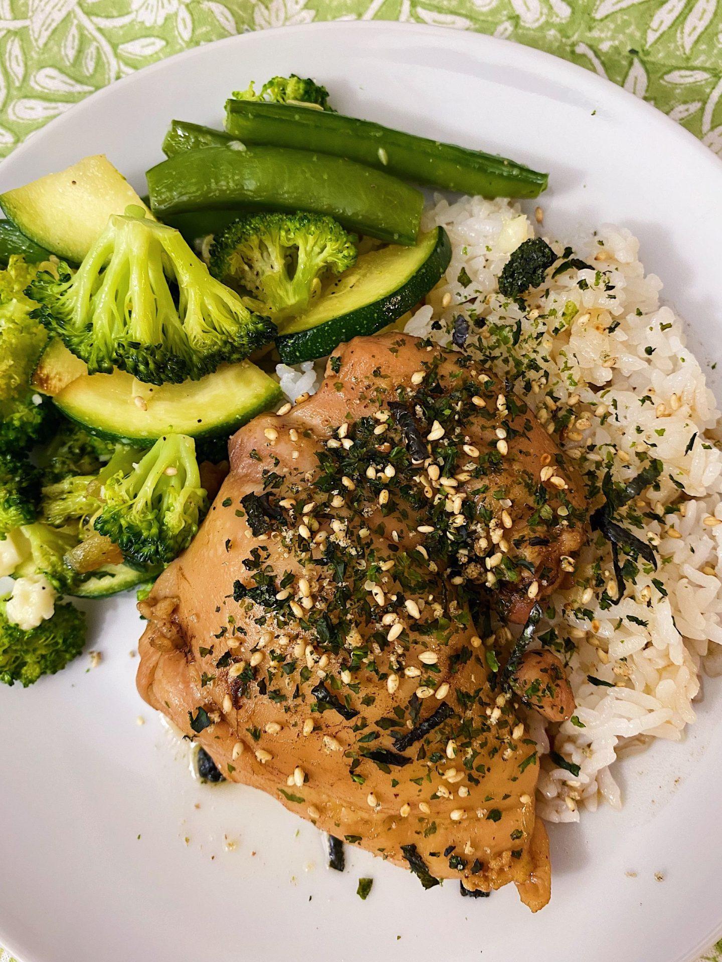 Shoyu chicken and stir fry veggies